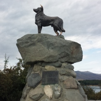 We follow the road through the fields of tussocks and rocks and dirt, and stop at a statue of a dog without a tongue.